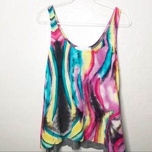 Rory Beca Watercolor Multicolor Silk Tank Top L
